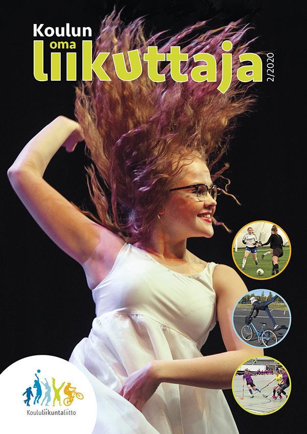 Koulun oma liikuttaja 2-2020 kansi, jossa punahiuksinen tyttö tanssii hymyillen.