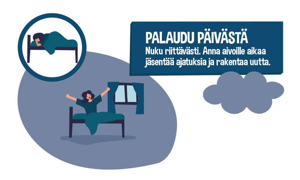 Lasten ja nuorten liikkumissuositukset sininen kuva: palaudu päivästä Lähde: UKK-Instituutti