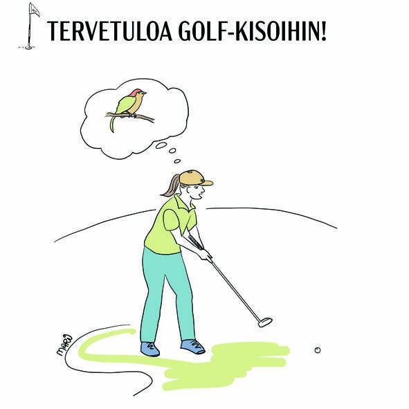 Piirroksessa tyttö puttaamassa golfputtia ja haaveilee birdiestä